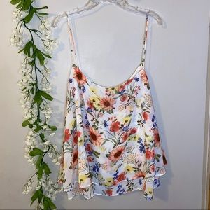 Forever 21 3X White floral tank top